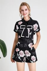 6259 Runway 2019 Designer Inspired Roses Print Bow Top + Shorts Twinset