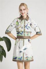 6260 Runway 2019 Designer Inspired Birds Print Bomber + Skirt Twinset