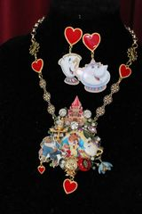 6268 Set Of Beauty And The Beast Necklace+ Earrings