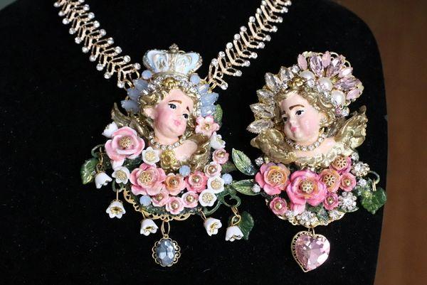 6270 Baroque Hand Painted Vivid Chubby Cherub Angel Fuchsia Roses Brooch