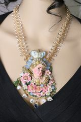 6271 Baroque Hand Painted Chubby Vivid Angels Cherub Necklace