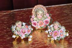 6272 Baroque Hand Painted Vivid Cherub Angle Roses Cuff Bangle