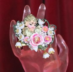 6274 Baroque Hand Painted Roses Sleeping Putti 2 Fingers Massive Cocktail Adjustable Ring