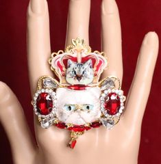 6276 Baroque Enamel Cat Runway Massive Cocktail Adjustable Ring