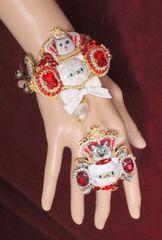 6277 Baroque Enamel Cat Red Rhinestones Adjustable Bracelet