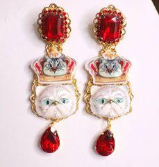 6278 Baroque Enamel Cats Red Rhinestone Studs Earrings