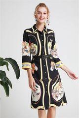 6279 Runway 2019 Designer Inspired Scarf Polo Print Shirt Midi Dress