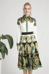 6280 Runway 2019 Designer Inspired Baroque Print Shirt+ Skirt Twinset