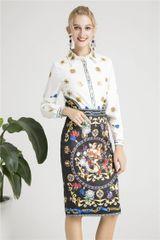 6282 Runway 2019 Designer Inspired Baroque Cherub Print Skirt+ Shirt Twinset