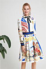 6284 Runway 2019 Designer Inspired Scarf Novelty Print Midi Dress