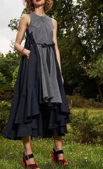 6286 2 Colors Runway 2019 Designer Inspired Irregular Patchwork Midi Dress