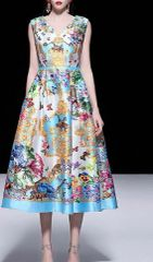 6287 Runway 2019 Designer Inspired Forest Baroque Print New-look Midi Dress