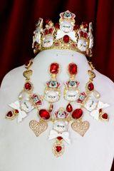 6275 Baroque Enamel Cats Red Rhinestone Sicilian Necklace