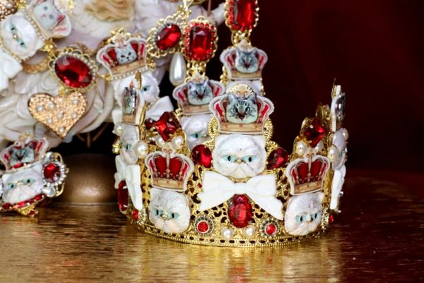 SOLD! 6290 Baroque Enamel Cats Red Rhinestones Stunning Crown