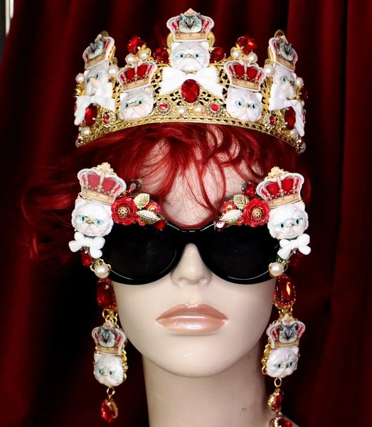 6291 Baroque Enamel Cats Crown Embellished Sunglasses