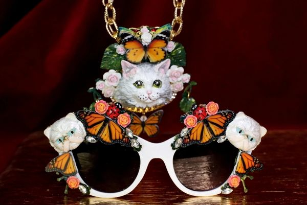 6292 Baroque Enamel Cats Sides Butterfly Embellished Sunglasses