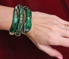 6293 Baroque Enamel Green Snake Wrap Adjustable Bracelet