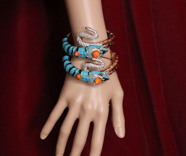 6294 Set Of 2 Baroque Enamel Aqua Color Snake Wrap Adjustable Bracelets