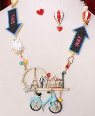 6295 Set Of I Love Paris This Way Enamel Unusual Necklace+ Earrings