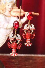 6297 Baroque Lobster Enamel Nautical Marine Ship Studs Earrings