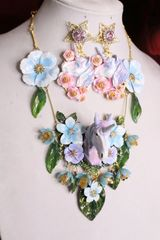 SOLD! 6299 Art Jewelry 3D Effect Hand Painted Unicorn Flowers Massive Necklace