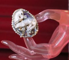 6300 Genuine Huge Sulemani Agate Unicorn Cocktail Adjustable Ring