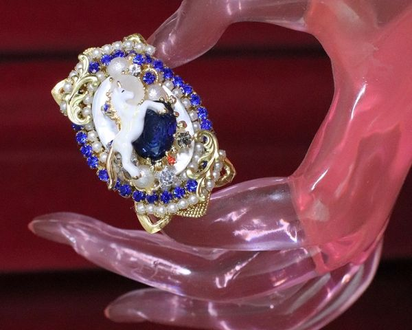 6301 Genuine Huge Mother Of Pearls Unicorn Cocktail Adjustable Ring