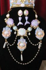 6304 Set Hand Painted Baroque Mermaids Coral Reef Massive Necklace+ Earrings