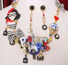 6296 Set Of I Love Paris Irregular Enamel Unusual Necklace+ Earrings