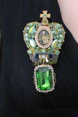 SOLD! 6307 Rococo Marie Antoinette Vintage Style Green Rhinestones Crown Brooch