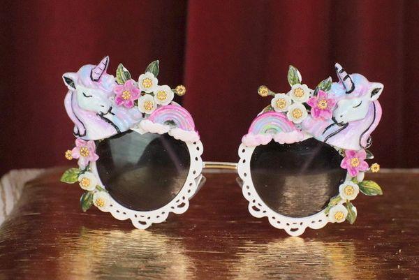 6308 Baroque Pastel Faced Unicorns Rainbow Embellished Sunglasses