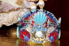 SOLD! 6310 Baroque Hand Painted Nautical Marine Mermaids Coral Reef Stunning Crown