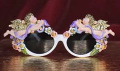 SOLD! 6312 Baroque Pastel Hand Painted Faced Cherubs Angels Embellished Sunglasses