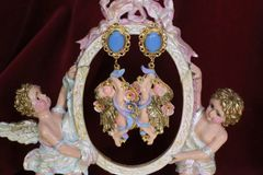 6313 Baroque Faced Cherubs Angels Hand Painted Earrings