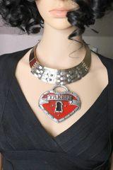 6314 Baroque Massive Metal TAKEN Heart Statement Necklace