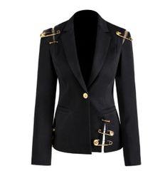 6323 Runway 2019 Elegant Long Pinned Sleeve Black Sleek Blazer
