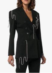6324 Runway 2019 Elegant Long Chained Black Sleek Blazer