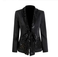6325 Runway 2019 Elegant Long Rhinestones Black Sleek Blazer