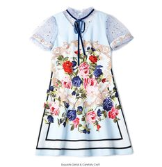 6326 Runway 2019 2 Colors Baroque Flower Print Midi Dress