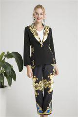 6327 Runway 2019 Baroque Print Elegant Blazer+ Pants Twinset