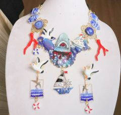 6331 Set Of Genuine Opal Agate Hand Painted Nautical Shark Coral Reef Statement Necklace+ Earrings