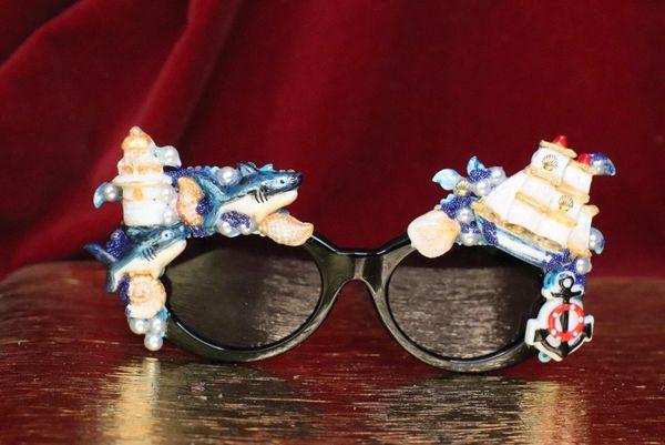 6332 Nautical Sharks Ship Embellished Sunglasses