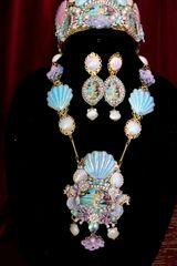 SOLD! 6334 Birth Of Venus Sea Horse Baroque Genuine Australian Triplet Opal Necklace SET