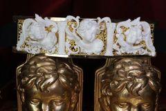 6335 Baroque Runway White Chubby Cherubs Angels Embellished Waist Gold Belt Size S, L, M