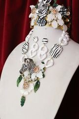 6336 Set Of Art Jewerly 3D Effect Hand Painted Zebra Crystal Flowers Massive Necklace