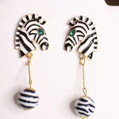 6337 Enamel Faced Zebra Light Weight Earrings