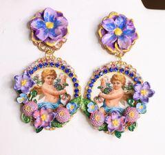 6338 Baroque Cherub Angel Cameo Purple Flowers Earrings