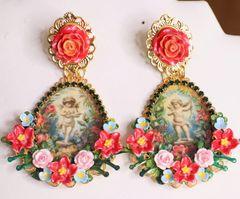 6339 Baroque Cherub Angel Cameo Red Flowers Earrings