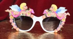 6340 Baroque Bright Hand Painted Faced Cherubs Angels Embellished Sunglasses