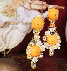 SOLD! 6343 Baroque Sicilian Orange Fruit Flower Blossom Bee Irregular Earrings